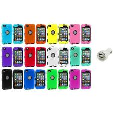 DELUXE COLOR BLACK CASE FOR IPOD TOUCH 4 4G 4TH GEN+PROTECTOR+DUAL CHARGER