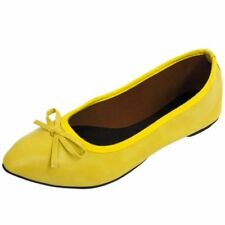 LADIES FLAT YELLOW SLIP-ON SHOES DOLLY COMFY BALLET BALLERINA CASUAL PUMPS 3-8