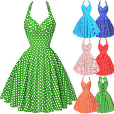 Vintage Polka Dots Swing 1950s Housewife Pinup Evening Cocktail Dress Halter