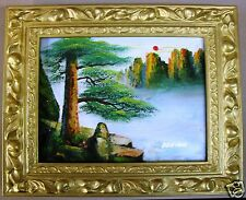 "MOUNTAIN CLOUD SEA PINE TREE  10"" OIL PAINTING OFFICE HOME DECOR ART GIFT F54"