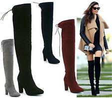 Ladies Faux Suede Leather Zip Sexy Over The Knee High Heel Thigh High Boots