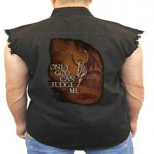 Gothic Denim Vest Only God Can Judge Me Biker Wear