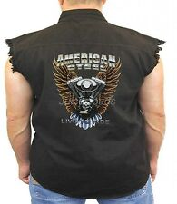 Biker Denim Vest American Steel Live To Ride Chopper Biker Wear