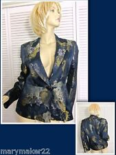 NWT LOUBEN JACKET 8 & 10 PEPLUM STYLED ONE BUTTON NAVY/GOLD TAPESTRY