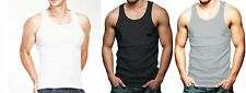 Lot Of 3 Mens Tank Top 100% Cotton A-Shirt Lot Wife Beater Ribbed Undershirt