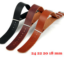 Watch Genuine Leather 18mm 20mm 22mm 24mm Black Brown Strap Wristwatch Band Belt