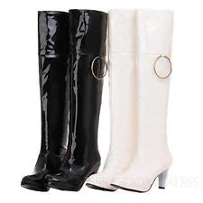 SSS GoGo Ladies patent mens womens Kinky Mid high heel Wet Look large size Boots