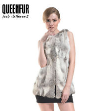 Queenfur New Real Rabbit Fur Vest Winter Fur Waistcoat Warm Rabbit Fur Gilet Hot