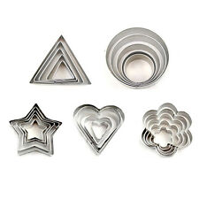 1 Set Funny Stainless Steel Star Heart Flower Cookie Cutter Biscuit Moulds Mold