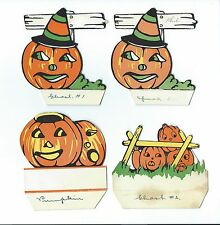 Vintage Halloween Place Cards with Jack-o-Lanterns. Set of 4 JOL