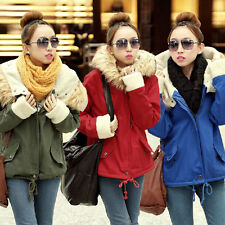 Fashion Women Warm Hooded Jacket Faux Fur Fleece Outwear Coat Thicken Parka 8-18