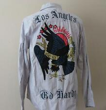 ED HARDY mens Eagle born Free Los Angeles gray l/s button front dress shirt NEW