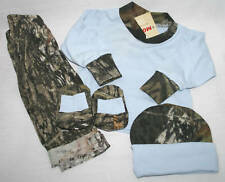 MOSSY OAK CAMO 4 PC BABY INFANT SET - BLUE SHIRT TRIMMED IN CAMOUFLAGE & PANTS