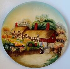 W H Bossons Anne Hathaways Cottage Vintage Chalkware Wall Plate Plaque Picture