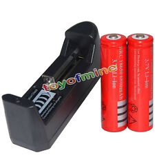 2x 3.7V 18650 Li-ion 6800mAh Red Rechargeable Battery + AAA Charger