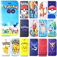 Pokemon go PU leather wallet case flip cover stand protective skins for iphone