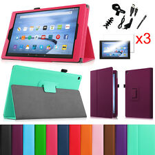 "Fire HD 10 5th 2015 Amazon Kindle 10"" Leather Case Cover + 3pcs Screen Protector"