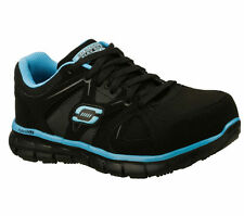 76553 Black Blue Skechers Shoes Womens Work Safe Slip Resistant Nubuck Alloy Toe
