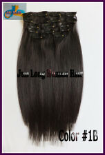 75g 7pcs Off Black Virgin Clip In Real REMY Human Hair Extensions 16'' 18'' 20''