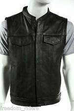 Mens Motorcycle Vest Black Leather New Concealed Gun Pockets Usa Biker