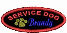 Service Dog Patch Working Dog Patch Personalized Dog Patch w Paw White Black Red