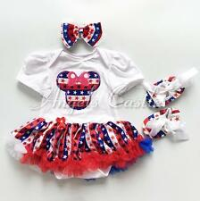 3pcs Newborn Baby Girl Headband Romper Shoes Minnie Mouse Dresses Outfit Clothes