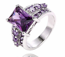 Fashion 925 sterling silver Plated purple cubic zirconia Women's Ring Size 6 8