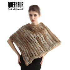 Queenfur Real Rabbit Fur Poncho Genuine Fur Shawl Fashion Women Fur Outwear Cape