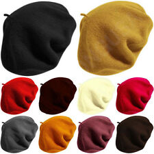 Unisex 100% Wool Beret Tam French Artist Beanie Hat Cap Winter Ski