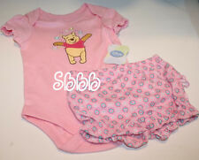 Disney Baby WINNIE THE POOH 0-3 Month Creeper 2 Pieces Pink Romper Bloomers Snap