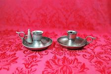 Vintage Pair Pewter Metal Candle Holders Chamberstick, & Snuffer - Finger Handle