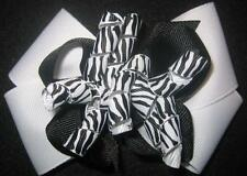 Zebra Boutique Hair Bow Korker Black White Girls Baby