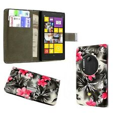GREY AND PINK FLOWER DESIGN BOOKFLIP PU LEATHER CASE FOR NOKIA LUMIA N1020
