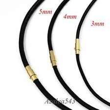 3/4/5MM BLACK Genuine Leather Cord GOLD Stainless Steel Magnetic Lock Necklace