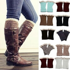Fashion Womens Crochet Knit Lace Trim Leg Warmers Cuffs Toppers Boot Socks 1Pair