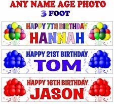 2 PERSONALISED BIRTHDAY PARTY BANNERS NAME PHOTO AGE balloons red blue multi C1