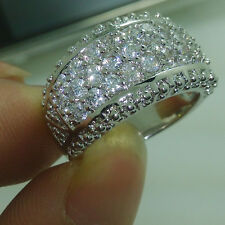 Sz 5-11 Sparkling Jewelry 10kt Gold Filled White Topaz Gemstones Ring Love Gift