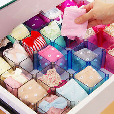Plastic Underwear Tie Bra Socks Storage Box Organizer Case Desk Drawer Divider