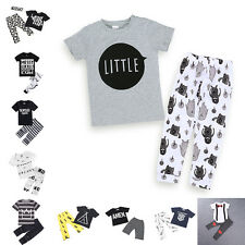 Hot Kids Toddler Baby Boys Girls T-shirt + Pants Kid Clothes Outfits Cotton Sets