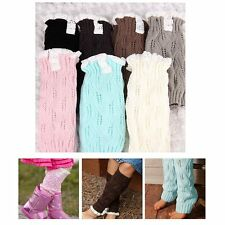 Fashion Baby Girls Crochet Knit Lace Trim Leg Warmers Cuffs Toppers Boot Socks