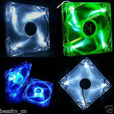 New Quad 4-LED Light Neon Clear 120mm PC Computer Case Cooling Fan Mod 4Pin