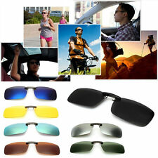 New Driving Polarized UV 400 Lens Clip-on Sunglasses Glasses Day Night Vision UK