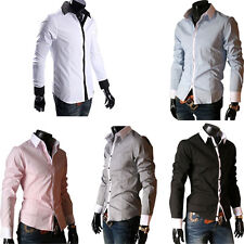 New Fashion Mens Casual Dress Stylish Slim Fit Long Sleeve Casual Dress Shirt