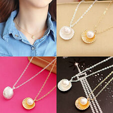 Women's Elegant Faux Pearl Shell Charm Polished Necklace Fashion Jewelry Cute