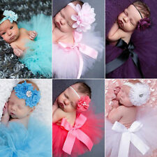 Newborn Headdress flower Headband Tutu Clothes Skirt Baby Girl Photo Prop Outfit