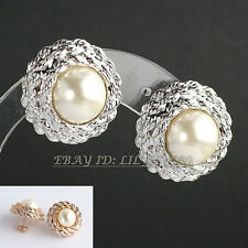 Fashion Button White Pearl Earrings 18KGP Stud