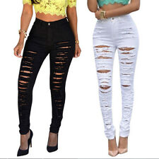 Women Sexy High Waisted Skinny Ripped Denim Pants Slim Pencil Jeans Trousers JCD