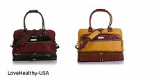 Samantha Brown Croco-Embossed Trim Drop Bottom Weekender Bag PICK A COLOR - NEW!