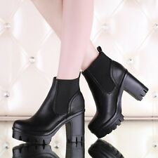 Women Chunky Heel Platform Ankle Boots Cowboy Western Shoes Thick Heel Plus Size