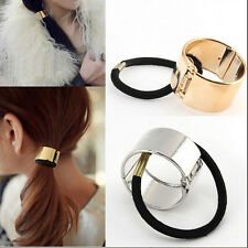 Women Hair Cuff Wrap Ponytail Metal Holder Ring Tie Elastic Hair Band Rope QW